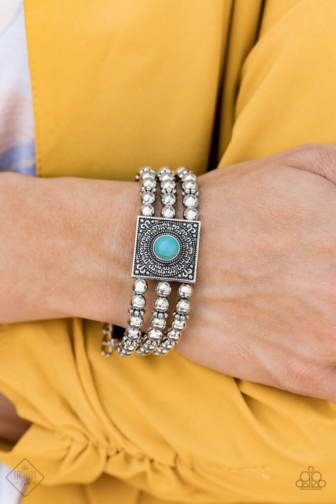 Solstice Soul - Paparazzi - Blue Turquoise Silver Bead Filigree Bracelet - Fashion Fix October 2019 Exclusive