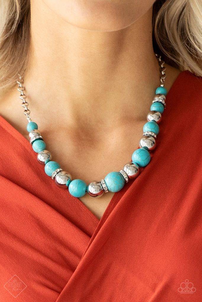 The Ruling Class - Paparazzi - Blue Turquoise Bead Silver Necklace - Fashion Fix February 2019