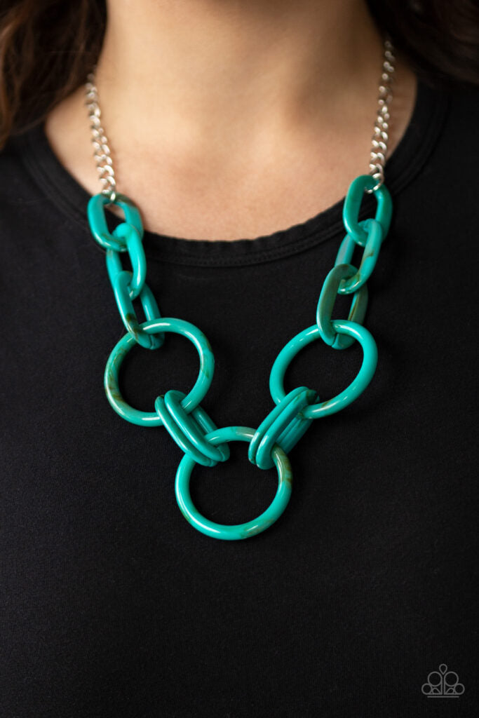 Turn Up the Heat - Paparazzi - Blue Turquoise Acrylic Resin Link Necklace