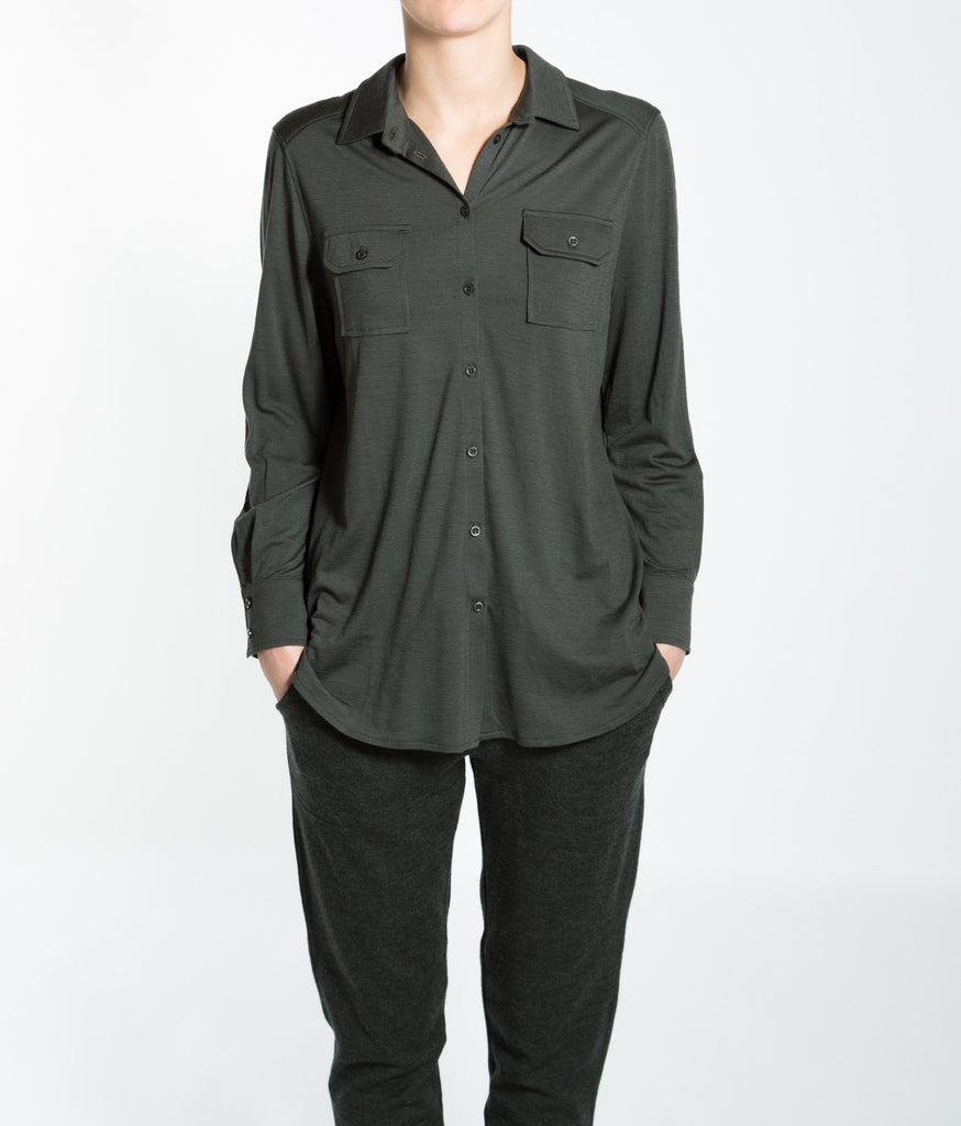 Merino Wool Button-Up Shirt Women Green