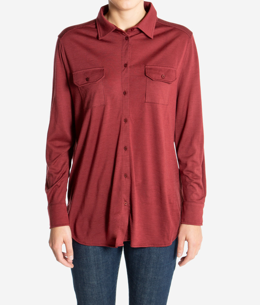 Merino Wool Button-Up Shirt Women Red