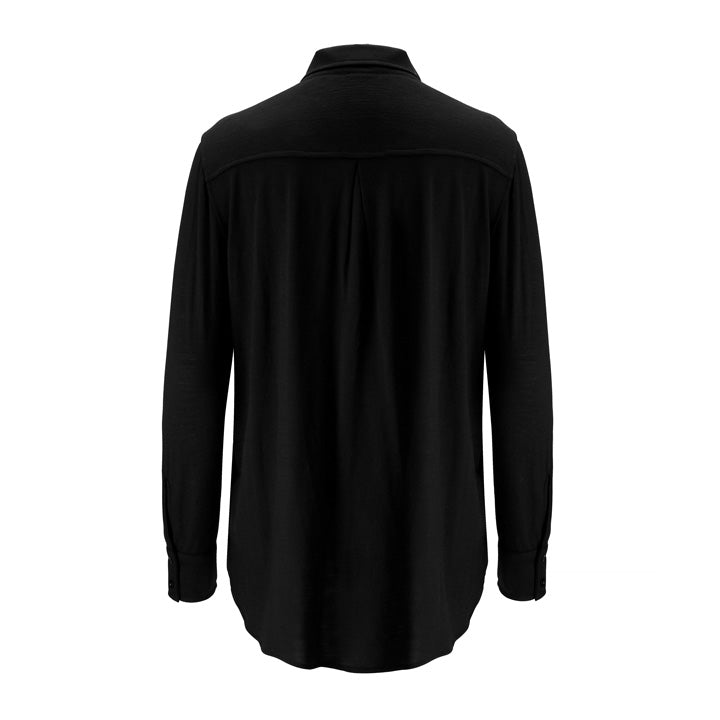 Merino Wool Button-Up Shirt Women Black