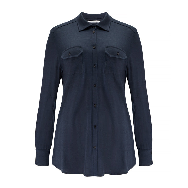 Merino Wool Button-Up Shirt Women Navy