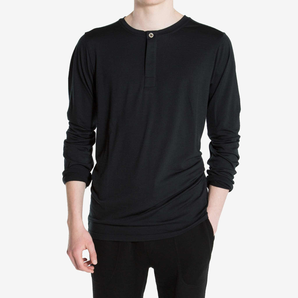 Merino Wool Henley Men Black