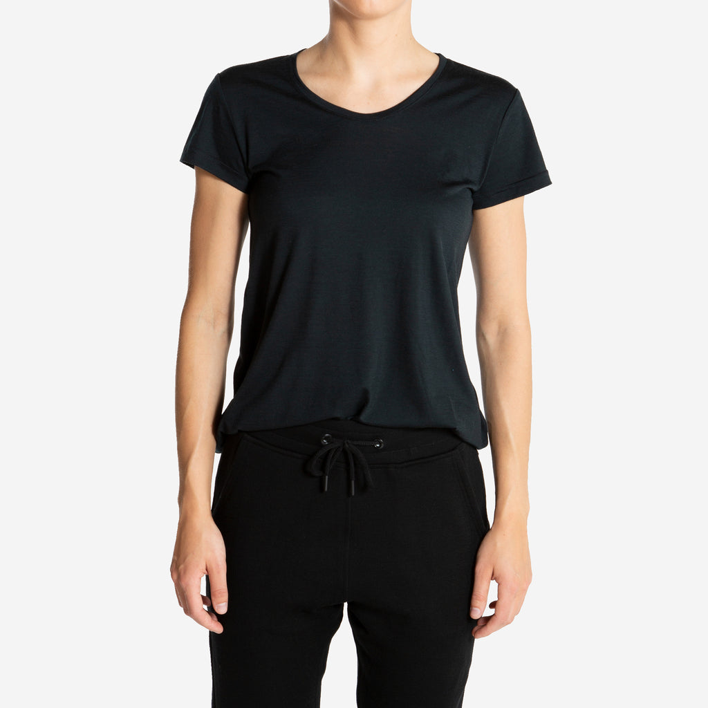 Merino Wool T-Shirt Women Black