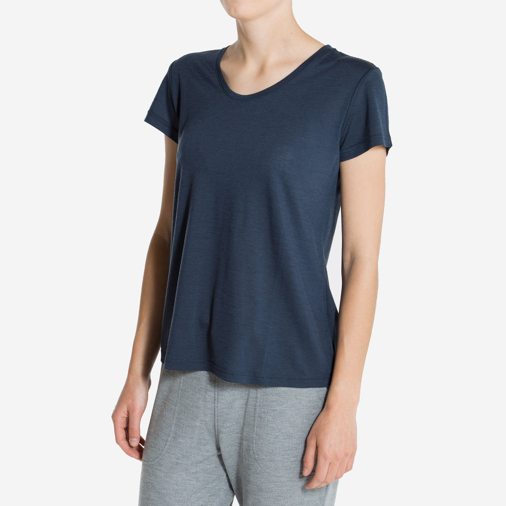 Merino Wool T-Shirt Women Navy