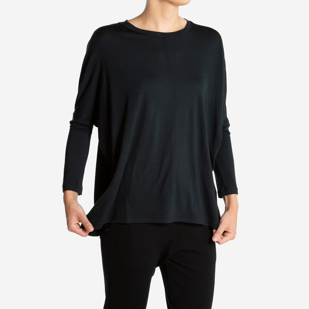 Merino Wool Long Sleeve Women Black
