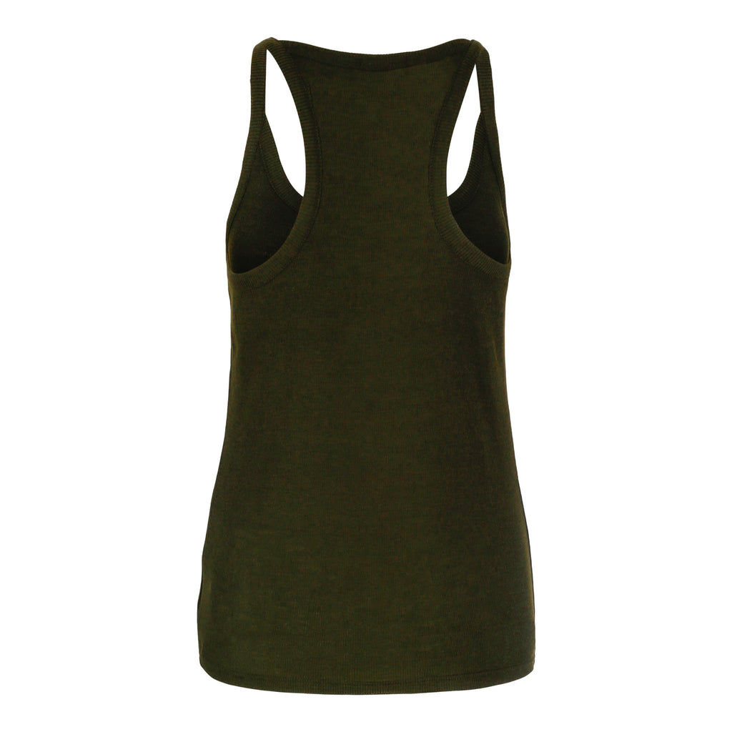 Merino Wool Rib Tank Women Green