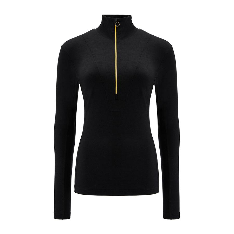 Merino Wool 1/4 Zip Pullover Women Black