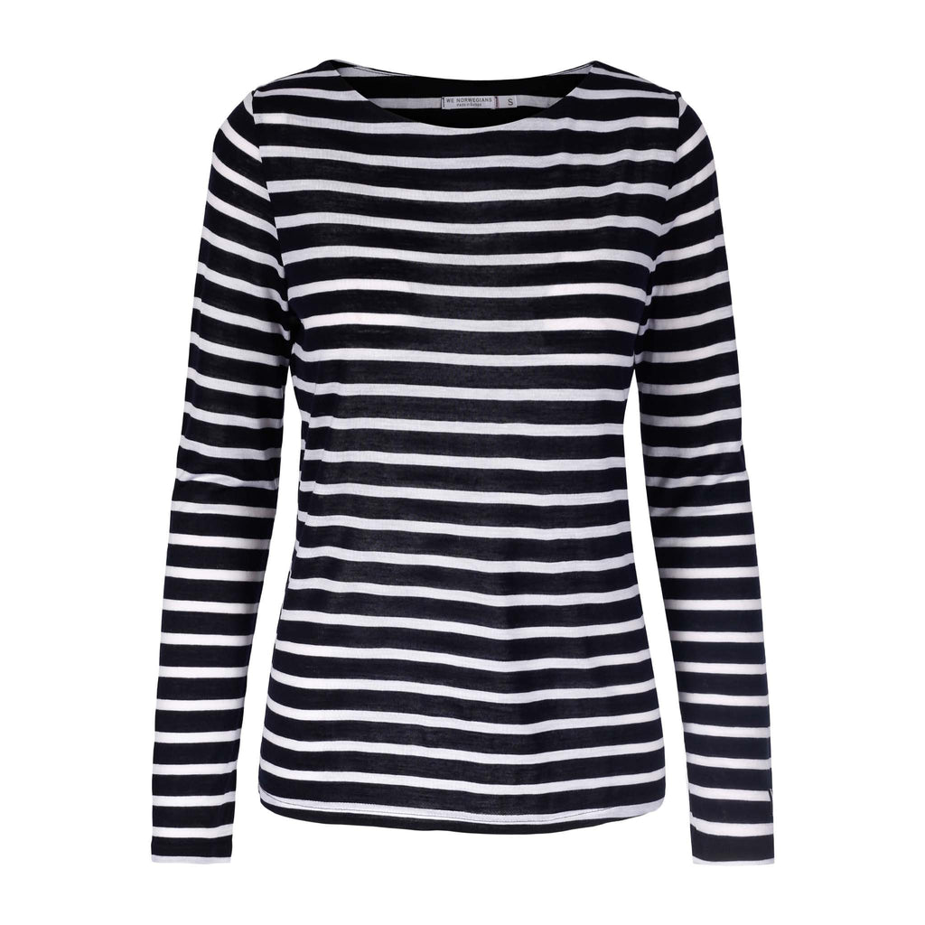 Merino Wool Striped Long Sleeve Shirt Women Navy