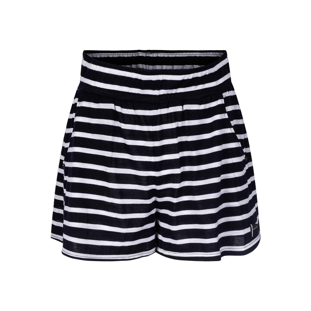 Merino Wool Striped Shorts Women White