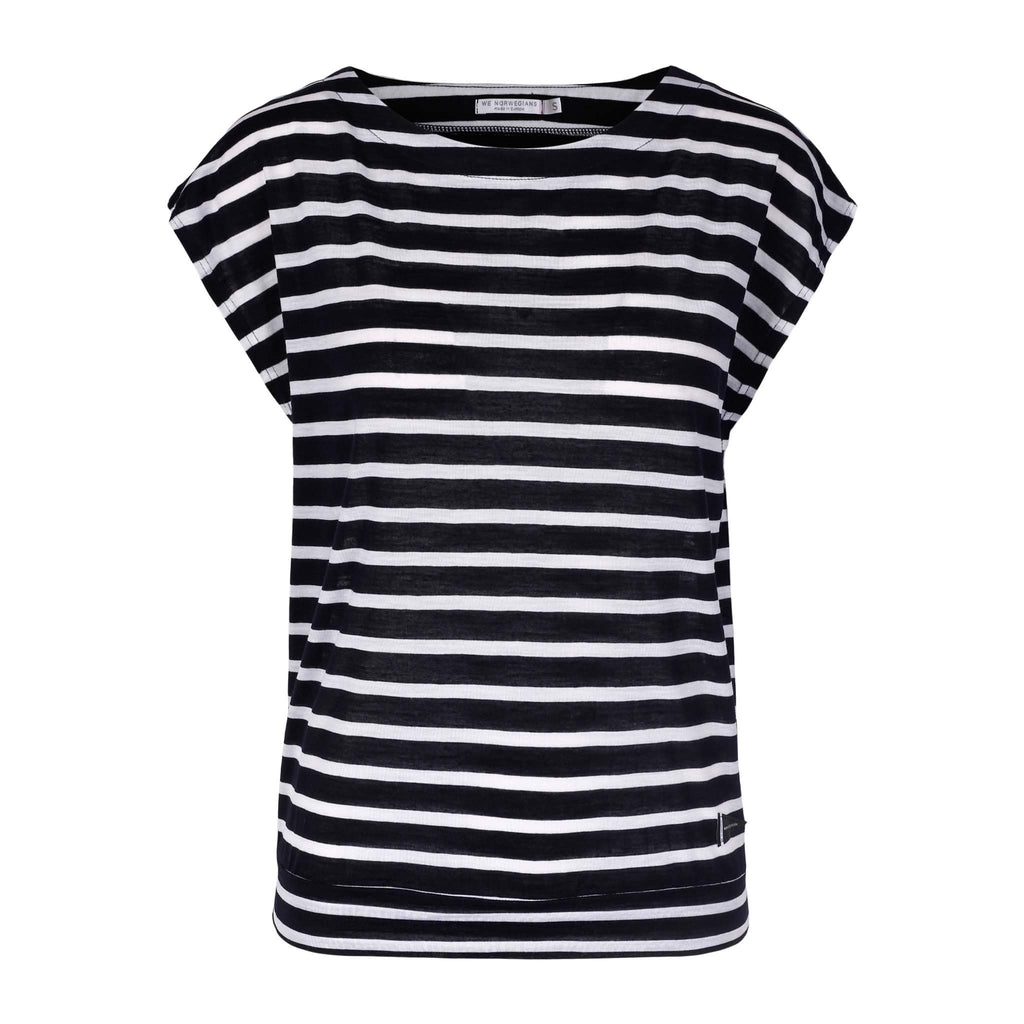 Merino Wool Striped T-Shirt Women Navy