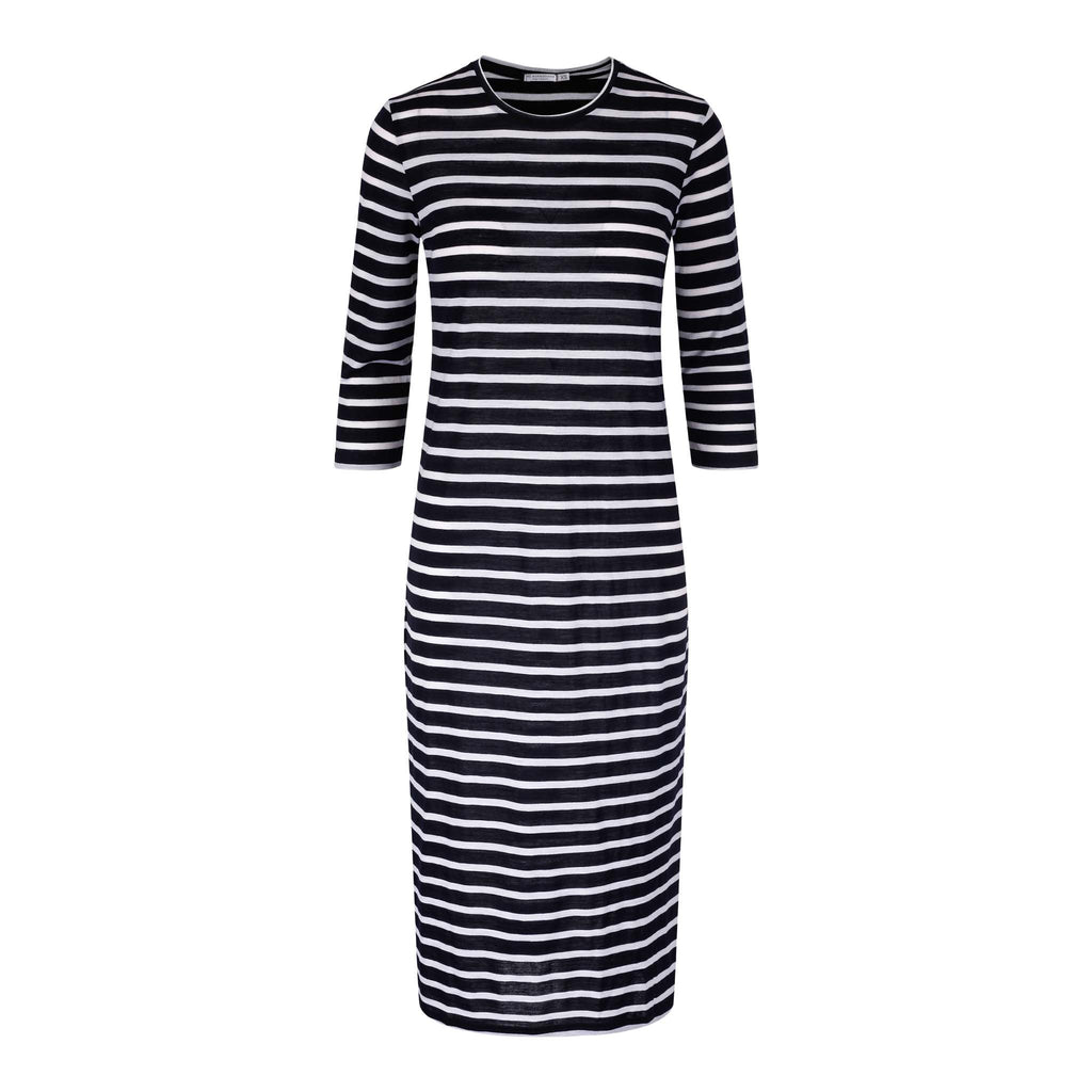 Merino Wool Striped Dress White Navy