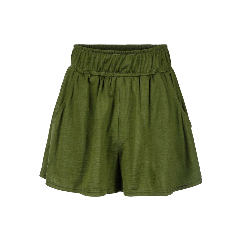 Merino Wool Shorts Women Moss Green