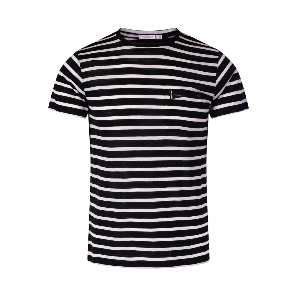Merino Wool Striped T-Shirt Men Navy