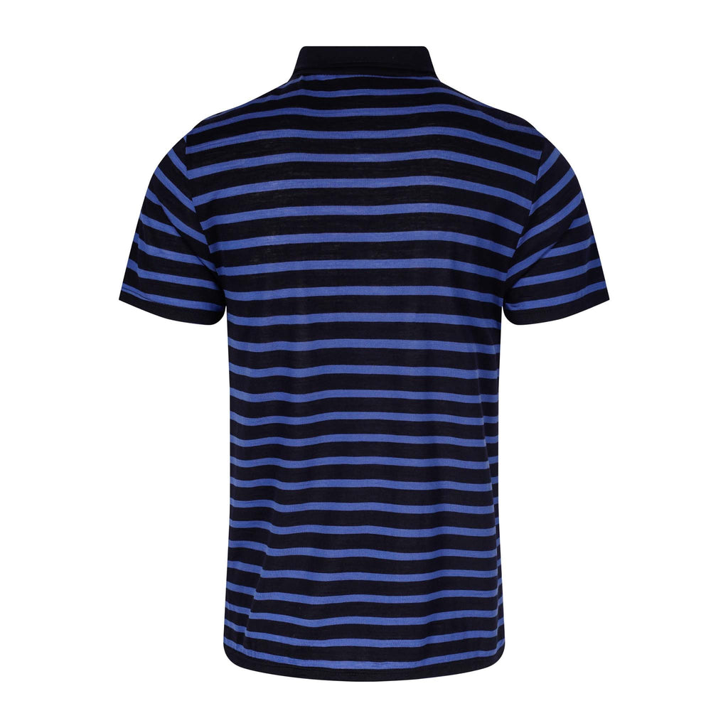 Merino Wool Polo Men Blue Striped