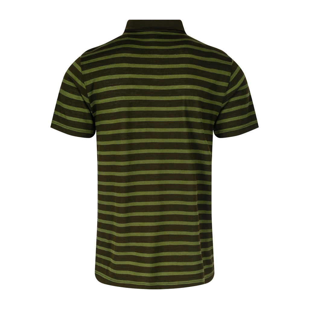 Merino Wool Polo Men Green Striped