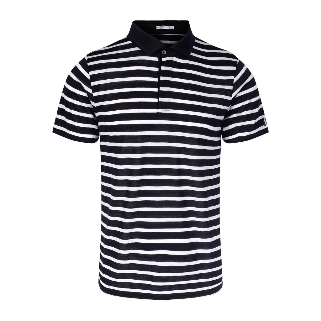 Merino Wool Polo Men Navy Striped