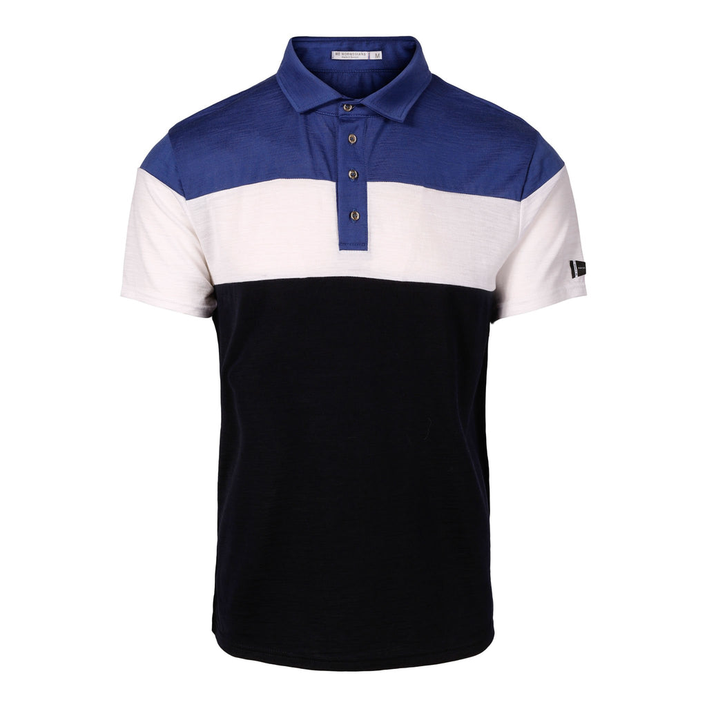 Merino Wool Polo Men Multi Blue