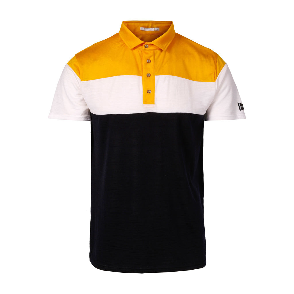 Merino Wool Polo Men Multi Yellow