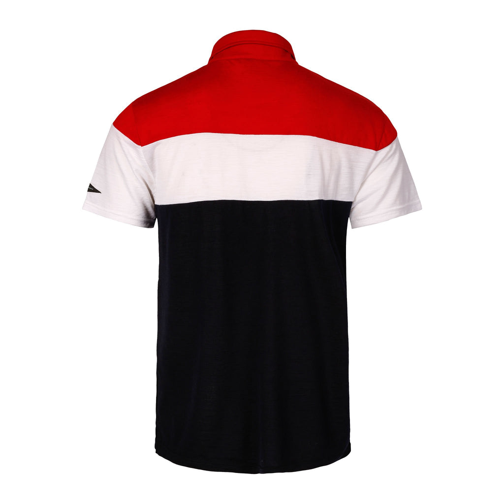 Merino Wool Polo Men Multi Red