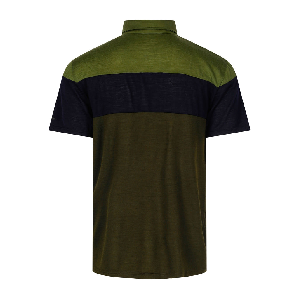 Merino Wool Polo Men Multi Green