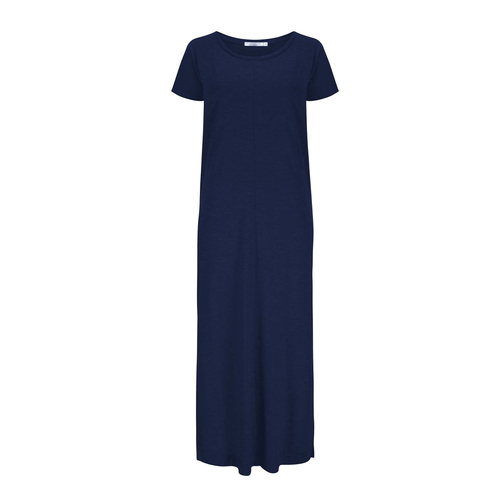 Merino Wool Dress Women Navy