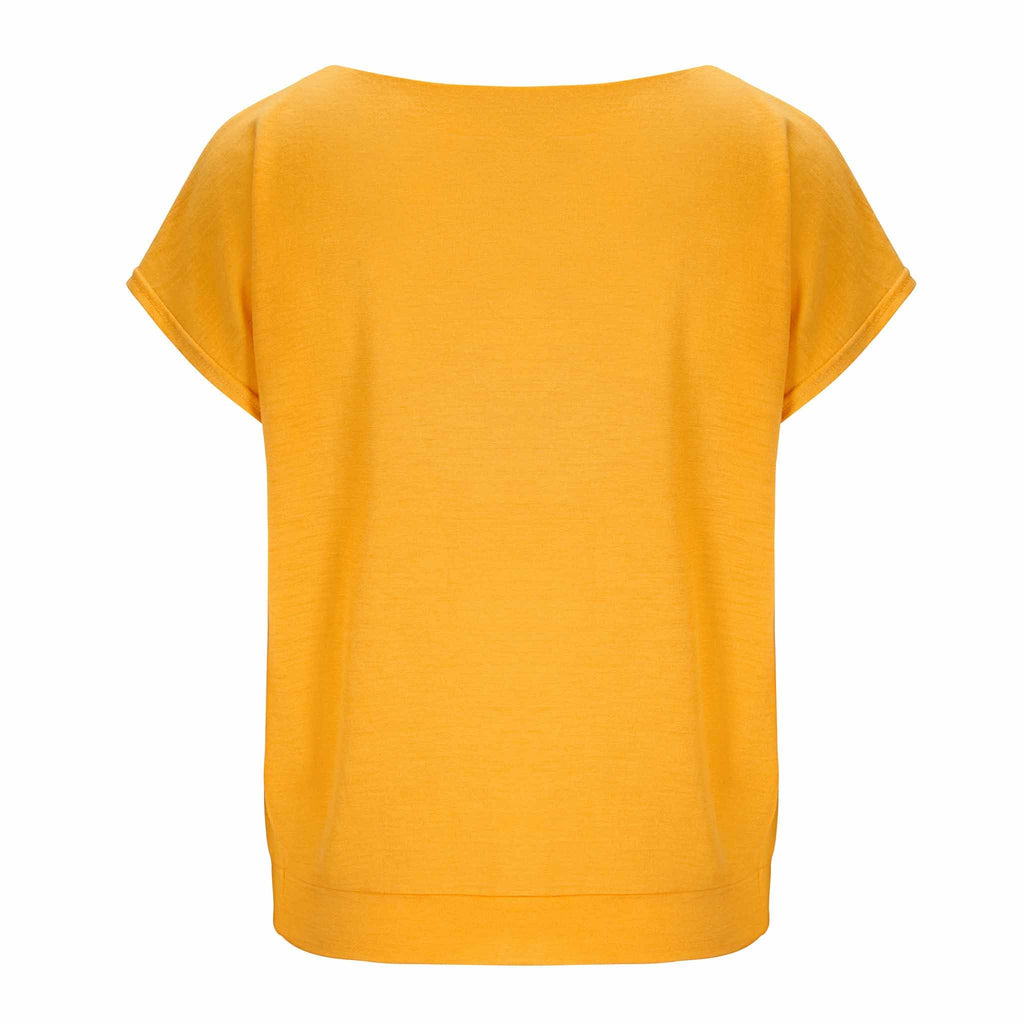 Merino Wool T-Shirt Women Yellow
