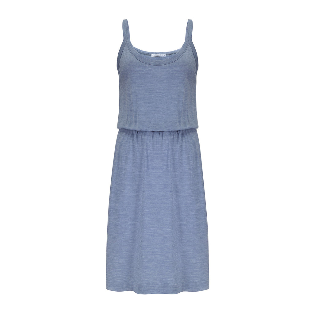 Merino Wool Dress Women Blue