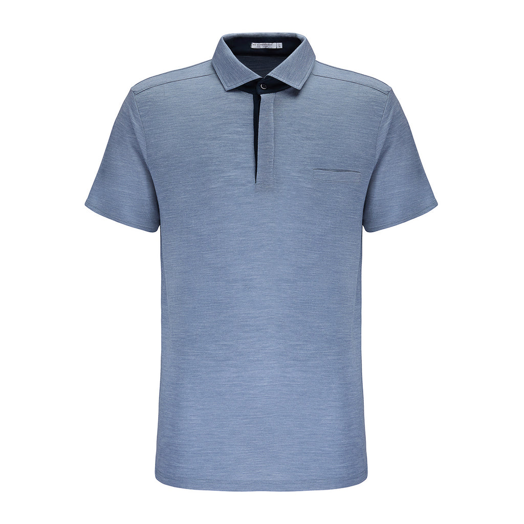 Merino Wool Polo Men Sky Blue