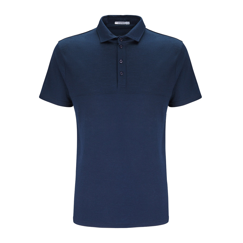 Merino Wool Polo Men Navy
