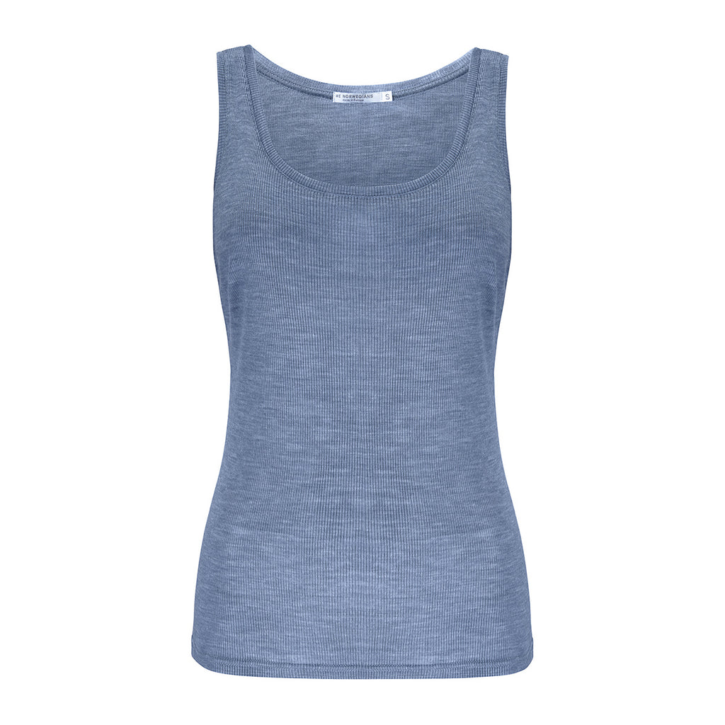 Merino Wool Rib Tank Women Sky Blue