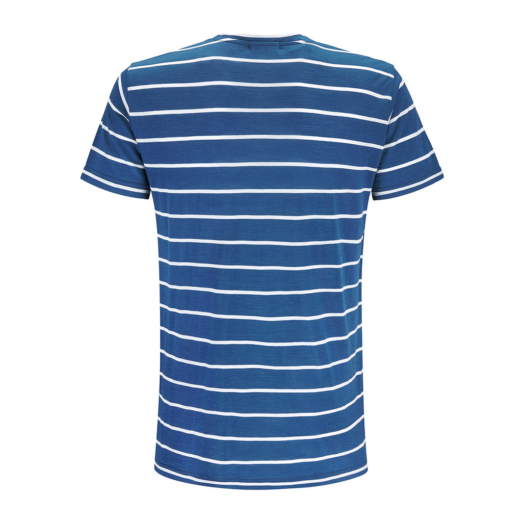 Merino Wool Striped T-Shirt Men Blue
