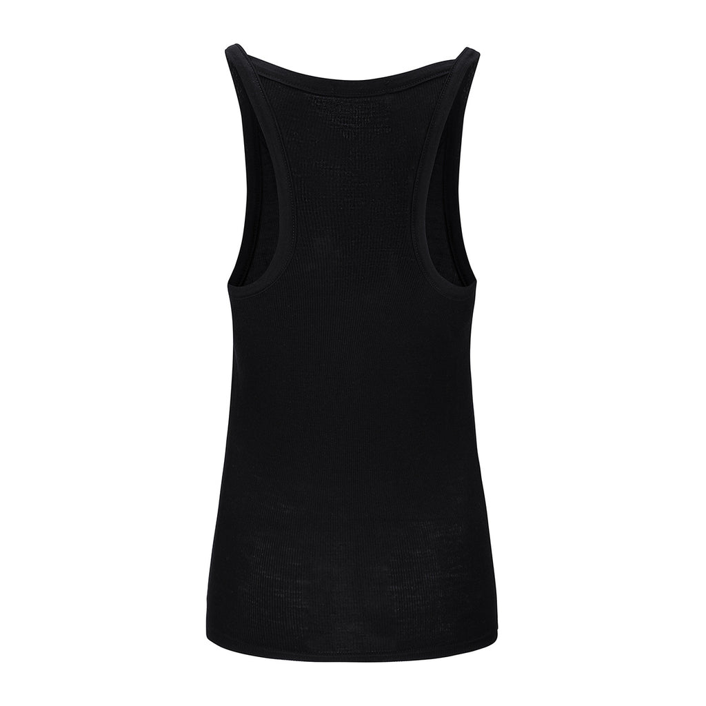 Merino Wool Rib Tank Women Black
