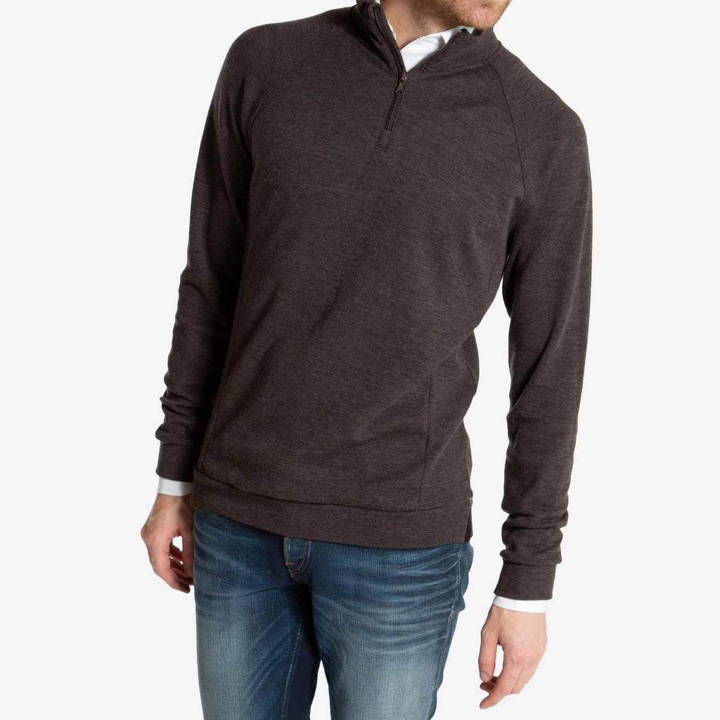 Merino Wool 1/4 Zip Pullover Men Brown