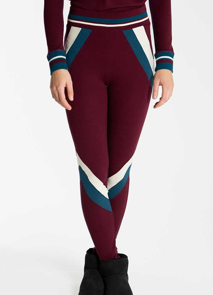 Merino Wool Leggings Women Oxblood