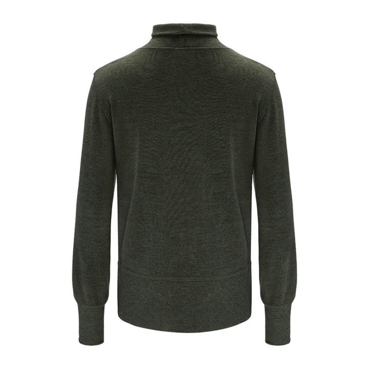 Merino Wool Turtleneck Women Green