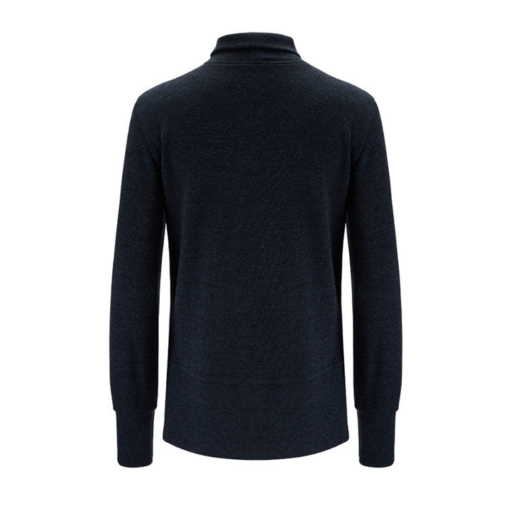 Merino Wool Turtleneck Women Navy