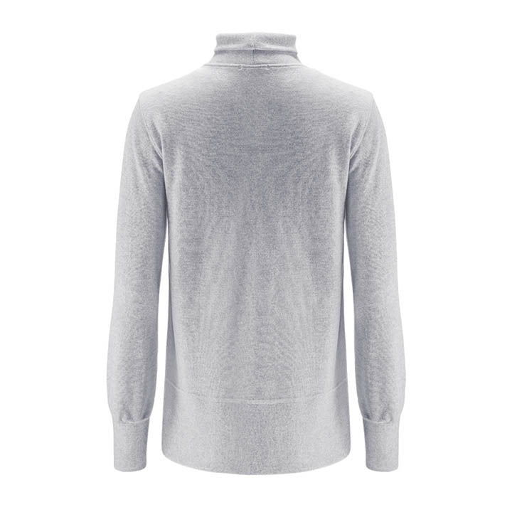 Merino Wool Turtleneck Women Grey
