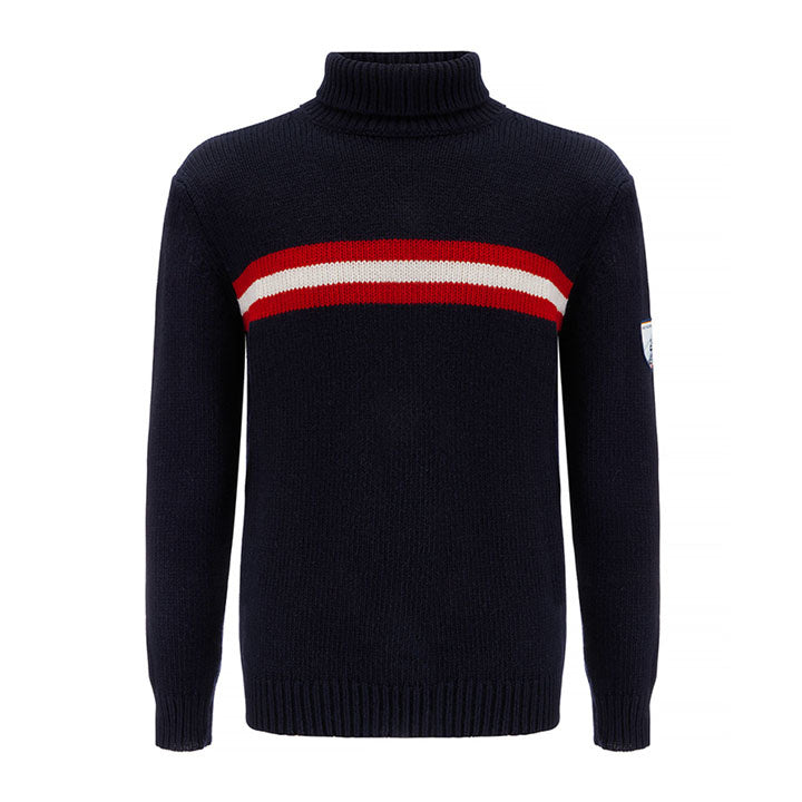 Merino Wool Navy Blue Turtleneck Men