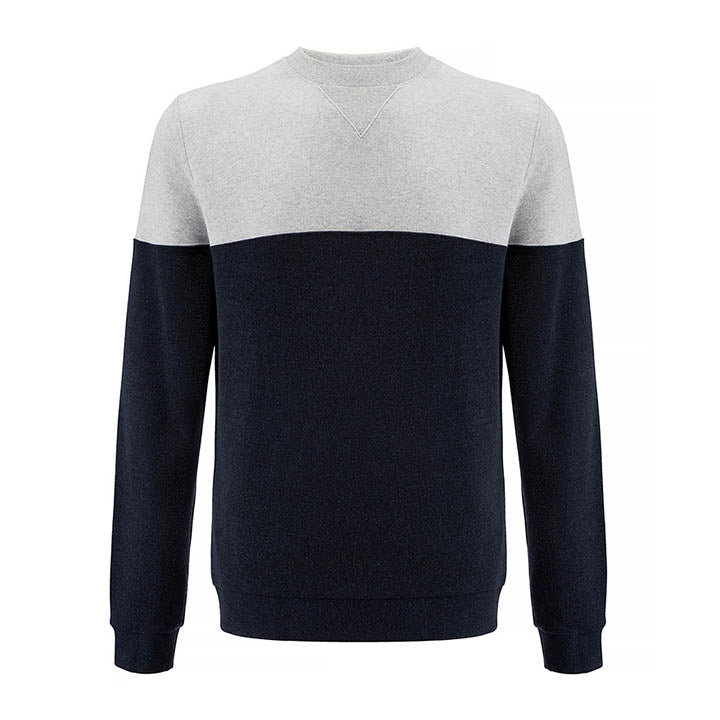 Merino Wool Crew Sweater Men Navy