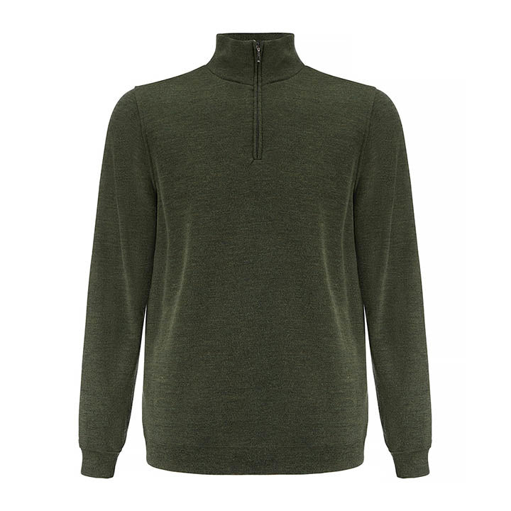 Merino Wool 1/4 Zip Pullover Men Green