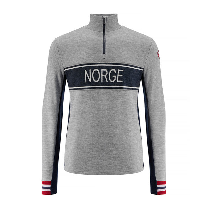 Merino Wool 1/4 Zip Pullover Men Grey