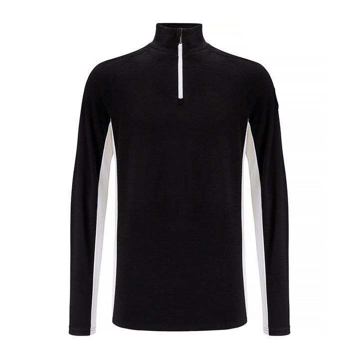 Merino Wool 1/4 Zip Pullover Men Black