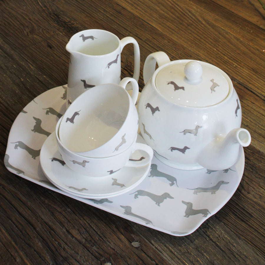 Dachsie Bone China Breakfast Cup and Saucer - Aurina Ltd