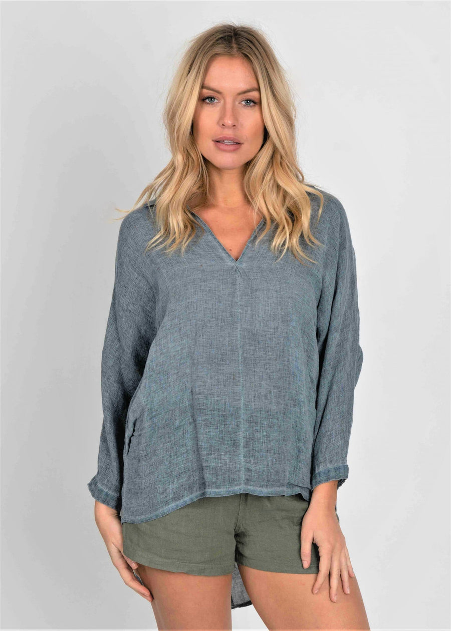Cley Button Back Linen Blouse - Aurina Ltd