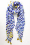 Navy and Mustard Tasseled Zig Zag Scarf - Aurina Ltd