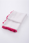 Fuschia and White Pom Pom Scarf
