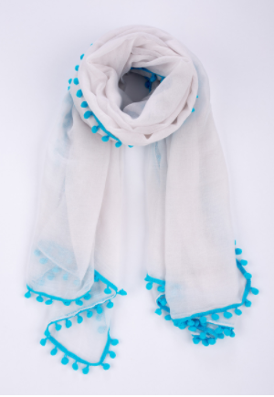 Blue and White Pom Pom Scarf