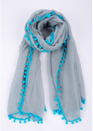 Grey and Turquoise Pom Pom Scarf